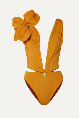 Johanna Ortiz Old Smoky Moonshine Embellished Cutout Swimsuit - Saffron