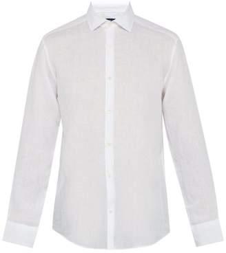 Frescobol Carioca Point Collar Linen Shirt - Mens - White