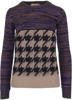 N°21 N21 Houndstooth Intarsia Pullover