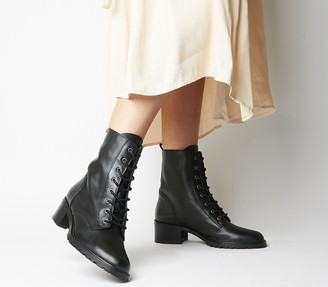 Office Azalea Lace Up Boots Black Leather