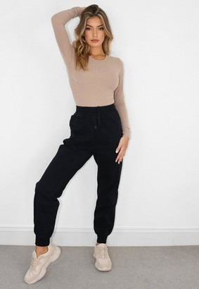Missguided Black Denim Elasticated Waist Jogger Jeans