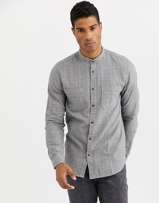 Selected two pocket prince of wales check shirt in black