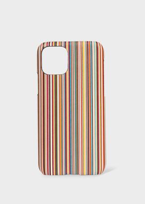 'Signature Stripe' Print Leather iPhone 11 Pro Case
