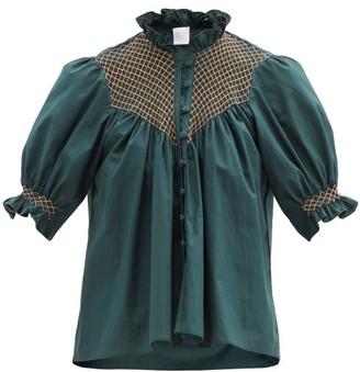 Loretta Caponi Milvia Smocked Cotton Blouse - Dark Green