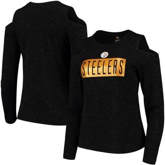 Outerstuff Junior's Black Pittsburgh Steelers Kicker Cold Shoulder Long Sleeve T-Shirt