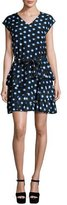 Moschino Cap-Sleeve Ruffled Polka-Dot Shirtdress, Blue/White