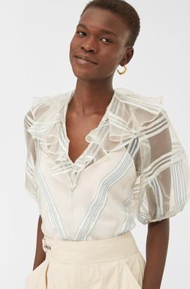 Rebecca Taylor Organza Striped Blouse