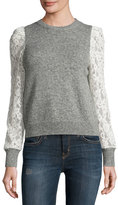 Rebecca Taylor Lace-Sleeve Pullover, Heather Gray