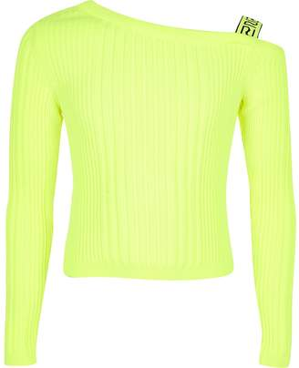 River Island Girls neon one shoulder knitted top