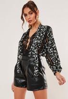 Missguided Black Floral Lace Trim Wrap Bodysuit
