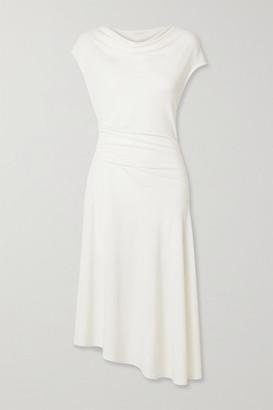 By Malene Birger Aidia Draped Stretch-crepe Midi Dress - Off-white
