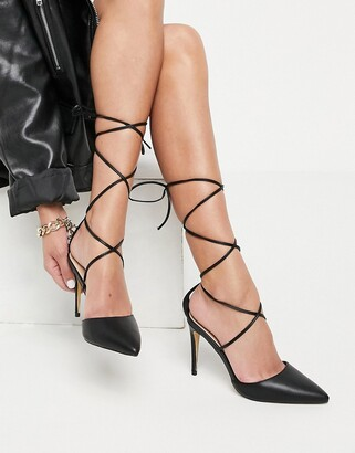 London Rebel strappy pointed heeled shoes