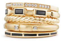 David Yurman 13mm Stax 18K Gold Five-Row Ring with Black Spinel & Diamonds, Size 8