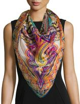 Etro Bombay Metallic Paisley Silk-Blend Scarf, White/Multicolor