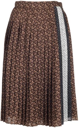 Burberry Pleated Monogram Striped Midi Skirt