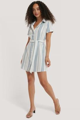 NA-KD Striped Tie Waist Cotton Dress