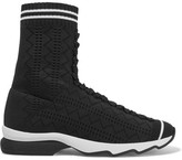 Fendi Perforated Stretch-knit Sneakers - Black