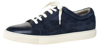 Brunello Cucinelli Blue Suede and Leather Lace Up Low Top Sneakers Size 43.5