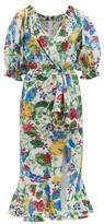 Saloni Olivia Floral-print Silk Crepe De Chine Midi Dress - Womens - White Multi