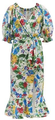 Saloni Olivia Floral-print Silk Crepe De Chine Midi Dress - White Multi