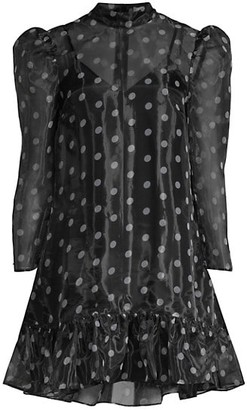LIKELY Rorra Polka Dot Mini Puff-Sleeve Shift Dress