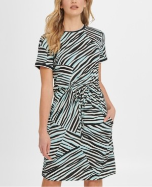 DKNY Animal-Print Drawstring T-Shirt Dress