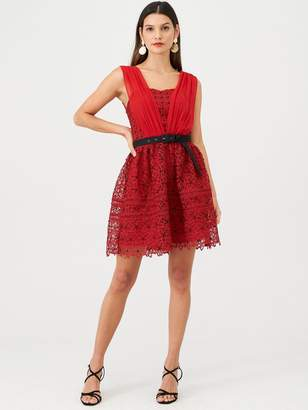 Very Belted Lace Skater - Red