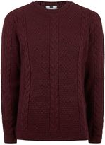 Topman Burgundy And Black Slim Fit Cable Knit Jumper