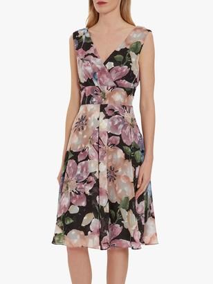 Gina Bacconi Camellia Floral Wrap Dress, Black/Rose