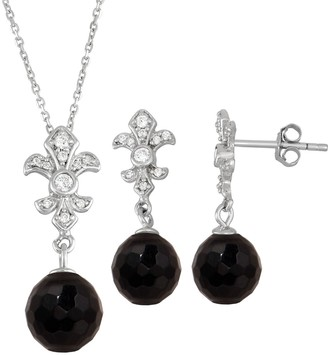 Onyx Cubic Zirconia Fleur-de-lux 2-piece Earring & Pendant Necklace Set