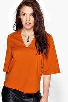 Boohoo Lily Woven V Neck Top