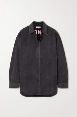 Balenciaga Embroidered Denim Shirt - Black