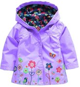 Zhuannian Little Girls Boys Flower/ Animal Print Rain Coat