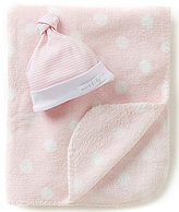 Mud Pie Baby Girls Striped Beanie Hat & Dotted Blanket Set