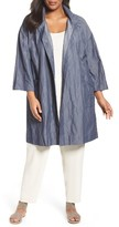 Eileen Fisher Plus Size Women's Organic Cotton Blend Crinkled Stand Collar Coat