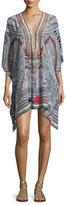 Camilla Short Lace-Up Caftan Coverup, Antique Batik