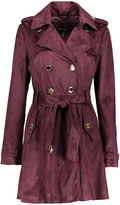 Burgundy Faux Suede Double-Breasted Trench Coat