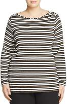 Marina Rinaldi Vairone Striped Jersey Tee