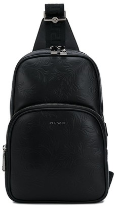 Versace Barocco-embossed single-strap backpack