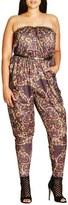 City Chic 'Blurred Dream' Print Strapless Jumpsuit (Plus Size)