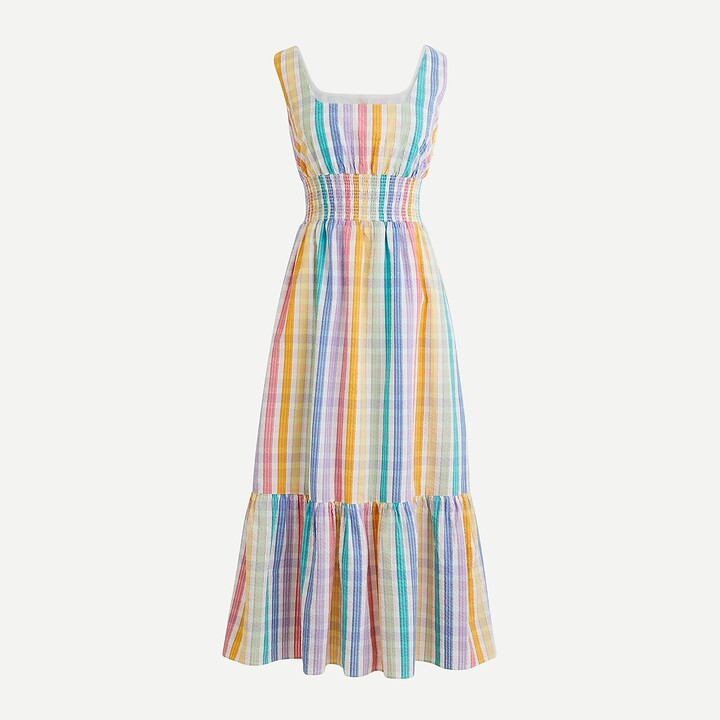 Thumbnail for your product : J.Crew Square-neck dress in rainbow gingham