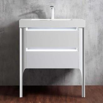 "Pacifica Orren Ellis 30"" Wall-MountedSingle Bathroom Vanity Set Orren Ellis Base Finish: White"