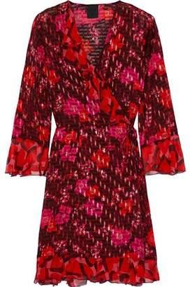 Anna Sui Georgette-trimmed Printed Fil Coupe Chiffon Mini Wrap Dress