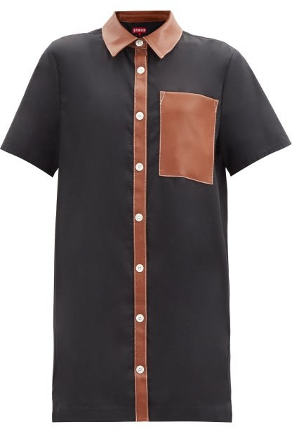 STAUD Switch Faux-leather And Cotton-blend Dress - Black