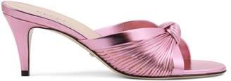 Gucci Metallic leather mid-heel sandal