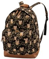 Yours Clothing YoursClothing Womens Owl Print Backpack Rucksack Adjustable Straps Front Pocket