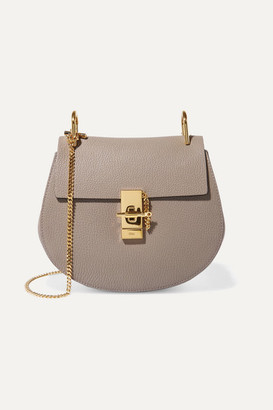 Chloé Drew Small Textured-leather Shoulder Bag - Light gray