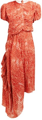 Preen by Thornton Bregazzi Ronnie Floral Print Asymmetric Plisse Midi Dress - Womens - Red Print