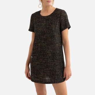 Molly Bracken Crew-Neck Shift Dress with Side Pockets