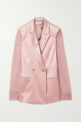 Cushnie Double-breasted Silk-charmeuse And Chiffon Blazer - Antique rose